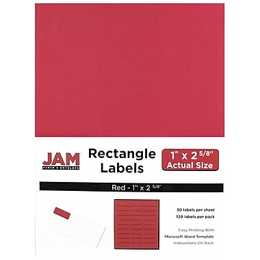JAM Paper® Mailing Address Labels, 1 x 2 5/8, Red, 120/pack (4514939)