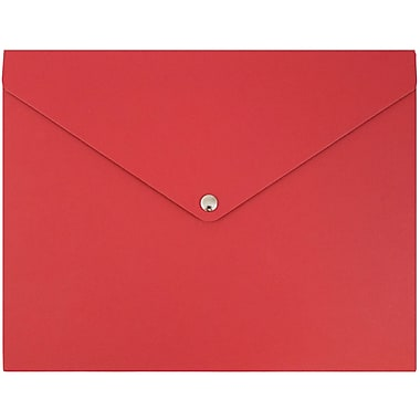 JAM Paper® Plastic Portfolio with Snap Closure, Medium, 9.25 x 12.25 x 0.5, Red, Sold Individually (9037279)