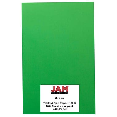 JAM Paper® Bright Color Tabloid Cardstock, 11 x 17, 65lb Green, 50/pack (16728484)