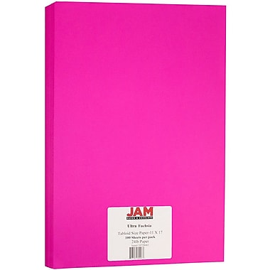 JAM Paper® Bright Color Tabloid Paper, 11 x 17, 24lb Ultra Fuchsia Pink, 100/pack (16728461)