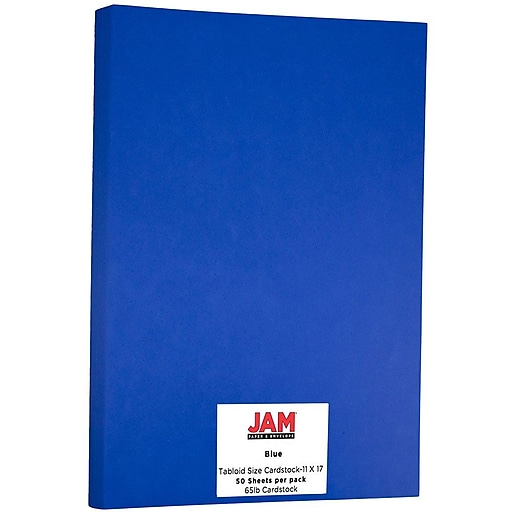 JAM Paper® Ledger 65lb Colored Cardstock, Tabloid Size, 11 x 17, Presidential Blue Recycled, 50 Sheets/Pack (16728477)