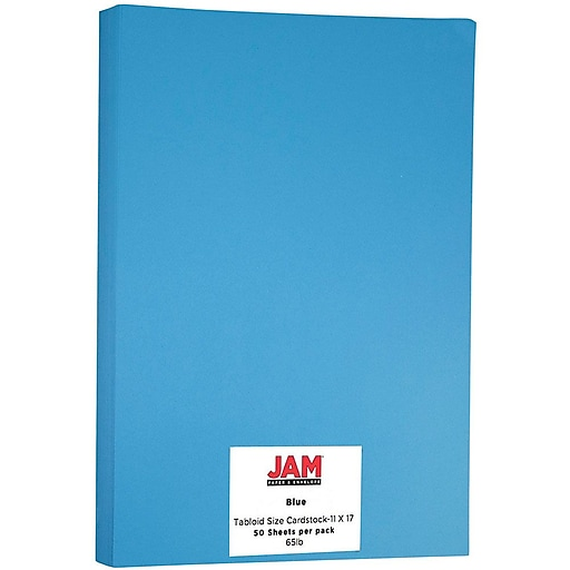 JAM Paper® Ledger 65lb Colored Cardstock, Tabloid Size, 11 x 17, Blue Recycled, 50 Sheets/Pack (16728479)