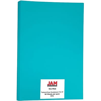 JAM Paper® Bright Color Tabloid Cardstock, 11 x 17, 65lb Sea Blue, 50/pack (16728482)