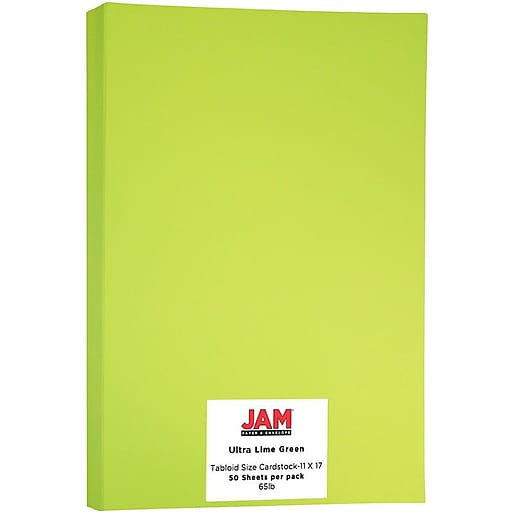 JAM Paper® Ledger 65lb Colored Cardstock, Tabloid Size, 11 x 17, Ultra Lime Green, 50 Sheets/Pack (16728486)