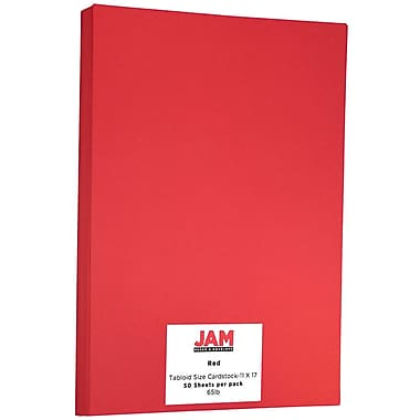 JAM Paper® Bright Color Tabloid Cardstock, 11 x 17, 65lb Red, 50/pack (16728488)