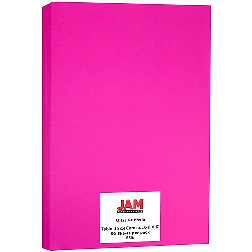 JAM Paper® Ledger 65lb Colored Cardstock, Tabloid Size, 11 x 17, Ultra Fuchsia Pink, 50 Sheets/Pack (16728494)