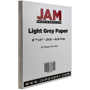 JAM Paper® Matte Paper, 8.5 x 11, 28lb Light Grey, 50/pack (64432380)