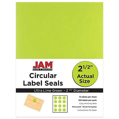 JAM Paper Round Circle Label Sticker Seals, 2.5 inch diameter, Green, 120/pack (147628589) 1912788