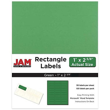 JAM Paper® Mailing Address Labels, 1 x 2 5/8, Green, 120/pack (302725772)