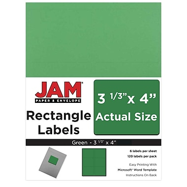 JAM Paper® Mailing Address Labels, 3 1/3 x 4, Green, 120/pack (302725776)