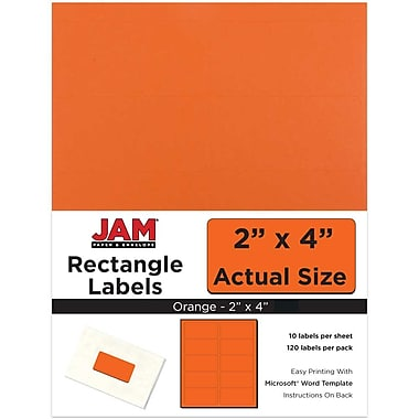 JAM Paper® Mailing Address Labels, 2 x 4, Orange, 120/pack (302725784)