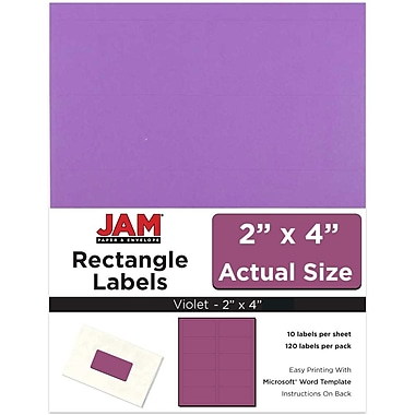 JAM Paper® Mailing Address Labels, 2 x 4, Violet, 120/pack (302725790)