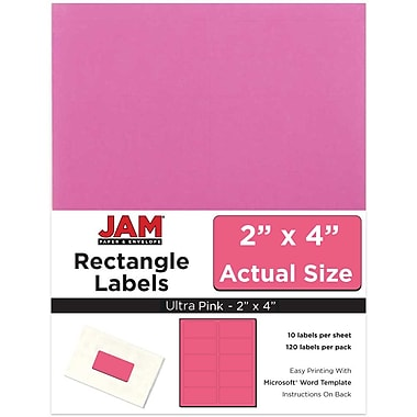 JAM Paper® Mailing Address Labels, 2 x 4, Ultra Pink, 120/pack (302725797)