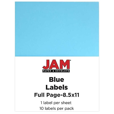 JAM Paper® Full Page Labels, 8.5 x 11 Sticker Paper, Blue, 10/pack (337628605)