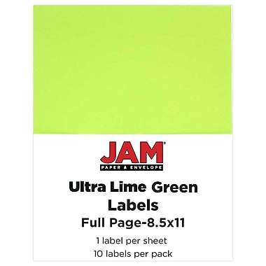 JAM Paper® Full Page Labels, 8.5 x 11 Sticker Paper, Ultra Lime Green, 10/pack (337628608)