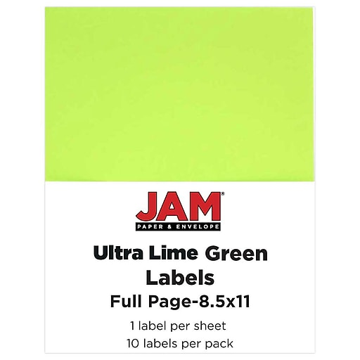 JAM Paper® Shipping Labels, Full Page, 8 1/2 x 11 Sticker Paper, Ultra Lime Green, 10/Pack (337628608)