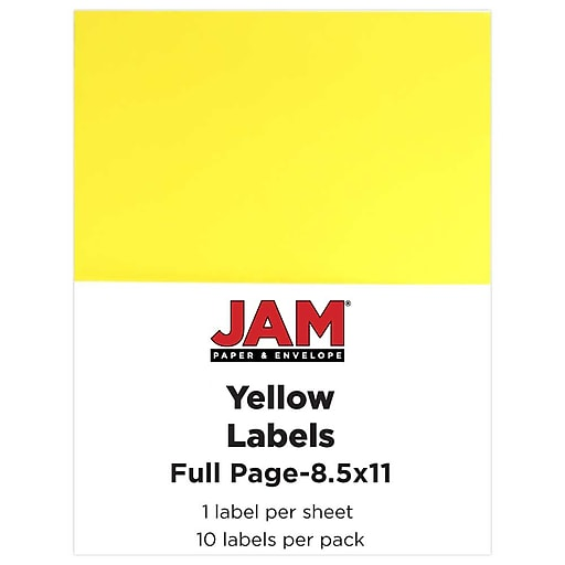 JAM Paper® Shipping Labels, Full Page, 8 1/2 x 11 Sticker Paper, Yellow, 10/Pack (337628610)