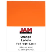 JAM Paper® Full Page Labels, 8.5 x 11 Sticker Paper, Orange, 10/pack (337628612)