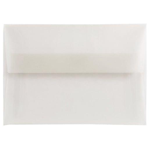 JAM Paper® 4Bar A1 Translucent Vellum Invitation Envelopes, 3.625 x 5.125, Clear, 50/Pack (900797921I)