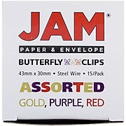 JAM Paper® Colorful Butterfly Paper Clips, Assorted Colors Paperclips, 15/Pack (2210016349)