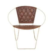 Cole & Grey Metal and Leather Papasan Chair; Brown