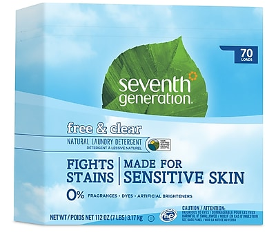 Seventh Generation™ Natural Powder Laundry Detergent, Free & Clear, Unscented, 70 Loads, 112 oz. Box (22824)