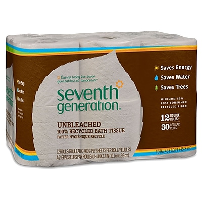 Seventh Generation™ Natural Unbleached 100% Recycled Bathroom Tissue Rolls, 2-Ply, 400 Sheets/Mega Roll, 12 Rolls/Pack (13735)