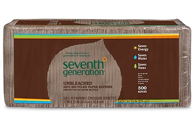 Seventh Generation™ Natural Unbleached 100% Recycled Napkins, 1-Ply, 500/Pack (13705)