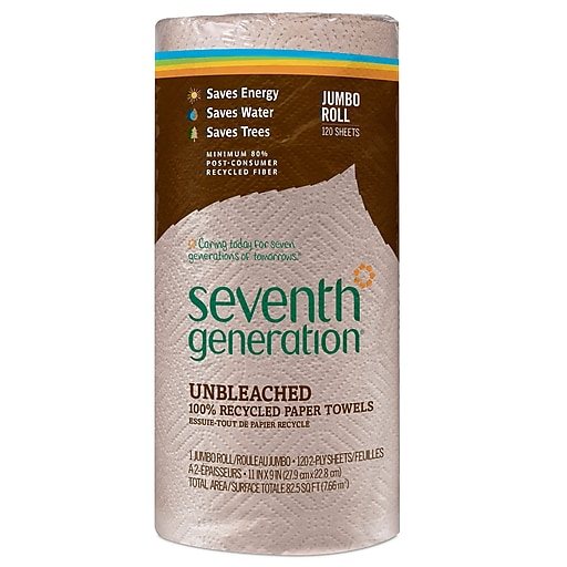 Seventh Generation™ Natural Unbleached 100% Recycled Paper Towel Roll, 2-Ply, 11 x 9 Sheets, 120 Sheets/Roll (13720)
