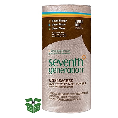 Seventh Generation? Natural Unbleached 100% Recycled Paper Towel Roll, 2-Ply, 11 x 9 Sheets, 120 Sheets/Roll, 30 Rls/Ct (13720)
