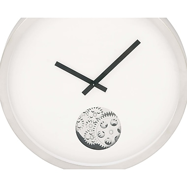 Cole & Grey Stainless Steel Gear 17'' Wall Clock; White