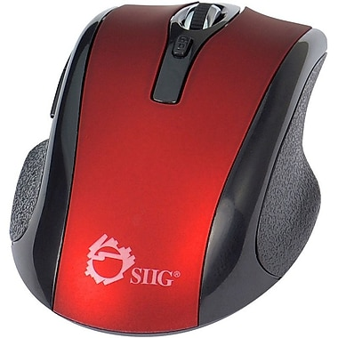 SIIG 6-Button Ergonomic Wireless Optical Mouse, Red