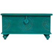 Porter International Designs Leelo Hand Carved Medallion Coffee Table Trunk; Teal