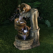 Alpine Polystone Tiered Barrel Fountain w/ LED Light