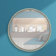 Majestic Mirror Round Simple Framed Wall Mirror; Bright Silver