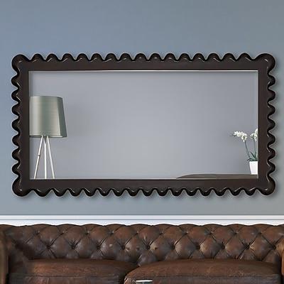 Majestic Mirror Full Length Wenge Rectangular Framed Beveled Glass Wall Mirror; Wenge