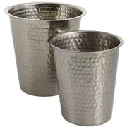 Eightmood Essentials 2 Piece Stainless Steel Pot Planter Set; Antique Silver