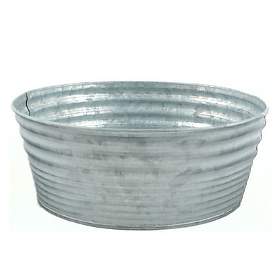 MidwestDesignImports Galvanized Tin Round Container (Set of 3); 3.5'' H x 9.5'' W x 9.5'' D