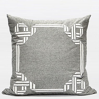G Home Collection Luxury Textured Frame Embroidered Pillow Cover