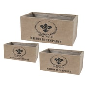 ABCHomeCollection French 3-Piece Tin and Burlap Planter Box Set