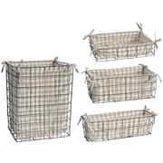 ABCHomeCollection Pastoral Metal and Fabric 4 Piece Basket Set