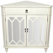 Darby Home Co Hannah Wooden Corner Cabinet w/ 1 Drawer and 2 Doors; Antique White