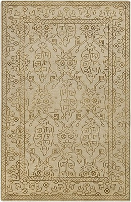 Darby Home Co Orrville Hand Knotted Wool Beige Floral Area Rug; Rectangle 5'6'' x 8'6''