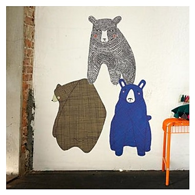 Pop & Lolli Gingiber 3 Piece Bear Wall Decal Set; Large