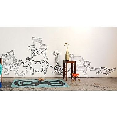 Pop & Lolli Gingiber 10 Piece Zoo Animal Wall Decal Set; Extra Large