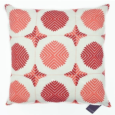 The Balmont Collection Geo Satin Stitch Embroidered Decorative Throw Pillow; Coral