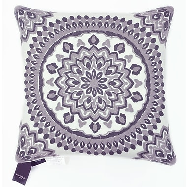 The Balmont Collection Medallion Chain Stitch Embroidered Decorative Throw Pillow; White/Brown