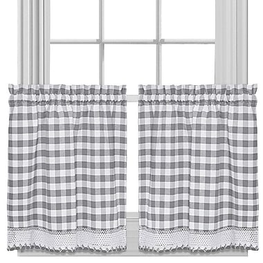 Sweet Home Collection Buffalo Check Cafe Curtains (Set of 2); 36'' H X 58'' W