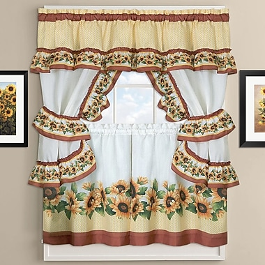 Sweet Home Collection Sunflower Cottage Kitchen Curtains; 36'' H X 58'' W