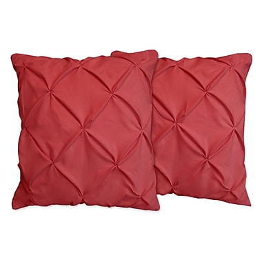 Sweet Home Collection Hudson Pinch Pleat Pintuck Throw Pillow (Set of 2); Burgundy